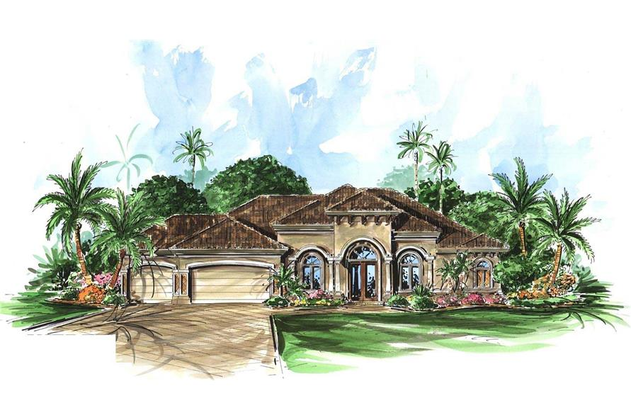3-Bedroom, 2566 Sq Ft Mediterranean Home Plan - 175-1034 - Main Exterior