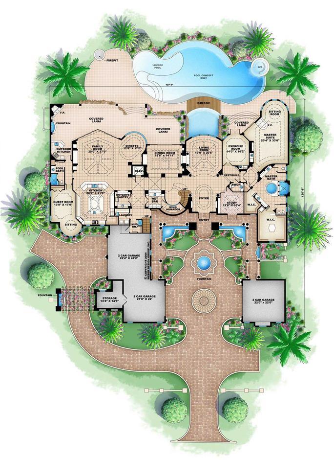 Ultra Luxurious Mediterranean House Plan 28313hj 1st Floor
