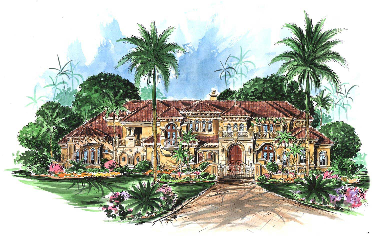 Luxury mediterranean home plans home design palacio - Mediterranean house floor plan and design ...