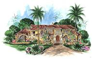 This is an artist's version of the front of this set of Luxury House Plans.