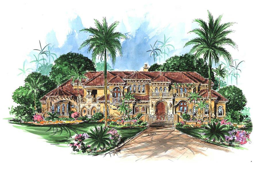 6-Bedroom, 10178 Sq Ft Luxury Home Plan - 175-1035 - Main Exterior