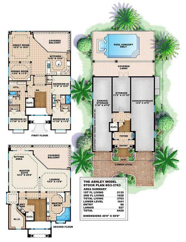 Florida Style House Plan 4 Bedrms 3 Baths 3763 Sq Ft