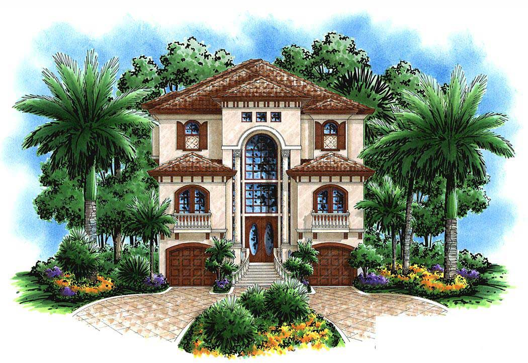 Florida style house plan 4 bedrms 3 baths 3763 sq ft for Florida beach house plans