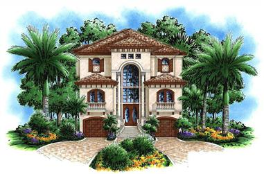 4-Bedroom, 3763 Sq Ft Florida Style House Plan - 175-1036 - Front Exterior