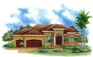 This is a colored elevation for these Mediterranean Home Plans.