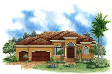 4-Bedroom, 2400 Sq Ft Mediterranean House Plan - 175-1037 - Front Exterior