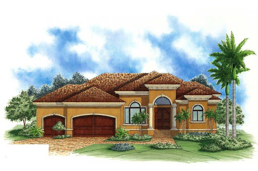 4-Bedroom, 2400 Sq Ft Mediterranean House Plan - 175-1037 - Front Exterior