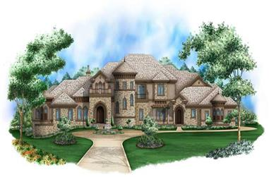 5-Bedroom, 15036 Sq Ft Tuscan House Plan - 175-1039 - Front Exterior