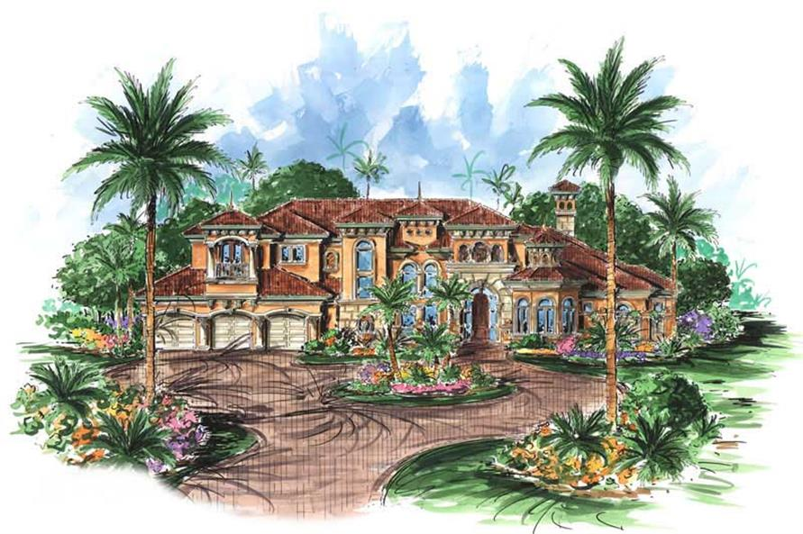5-Bedroom, 6771 Sq Ft Coastal Home Plan - 175-1040 - Main Exterior