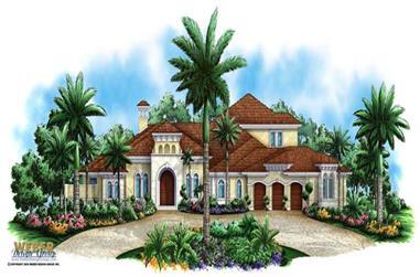 5-Bedroom, 4953 Sq Ft Mediterranean Home Plan - 175-1041 - Main Exterior