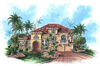 4-Bedroom, 3920 Sq Ft Coastal House Plan - 175-1043 - Front Exterior