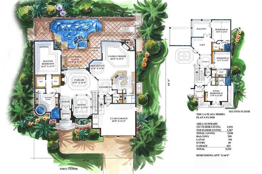 Home Plan Rendering of this 4-Bedroom,3920 Sq Ft Plan -175-1043