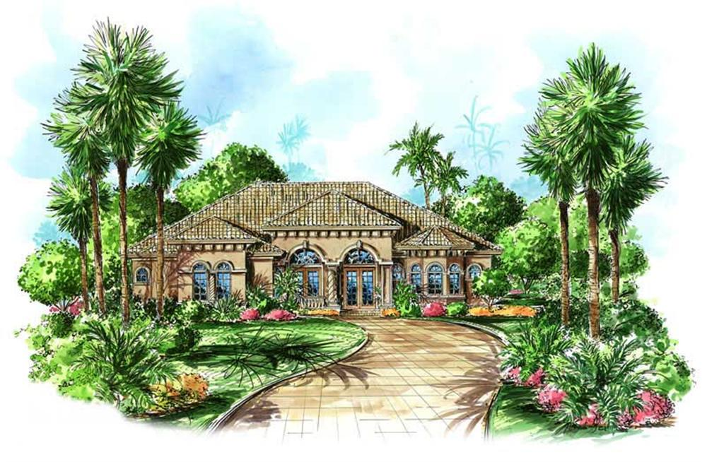This image shows the front elevation for these Mediterranean Plans.