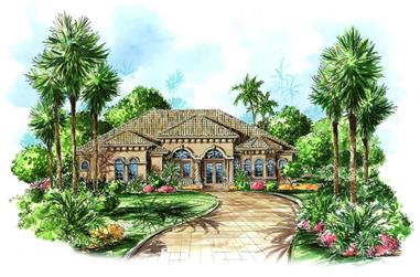 3-Bedroom, 3154 Sq Ft Coastal House Plan - 175-1044 - Front Exterior