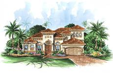 This image shows the exterior to this set of Mediterranean House Plans.