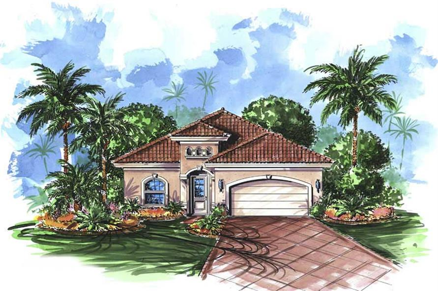 3-Bedroom, 2165 Sq Ft Florida Style House Plan - 175-1046 - Front Exterior