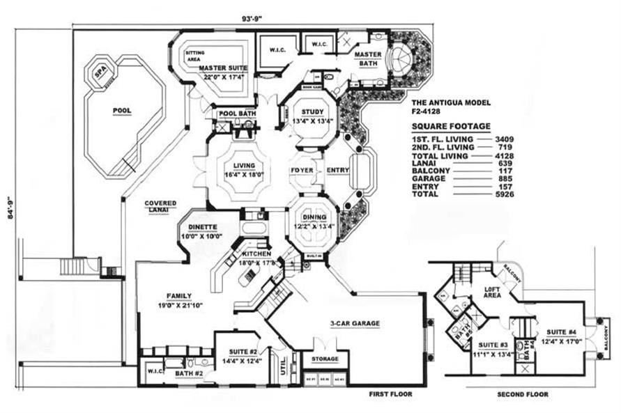 Floor Plan of this 4-Bedroom,4128 Sq Ft Plan -4128