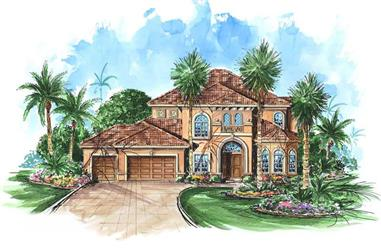 4-Bedroom, 4098 Sq Ft Coastal House Plan - 175-1048 - Front Exterior