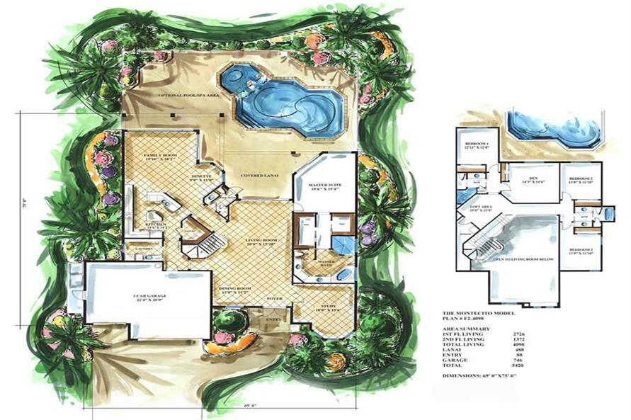 Home Plan Rendering of this 4-Bedroom,4098 Sq Ft Plan -175-1048