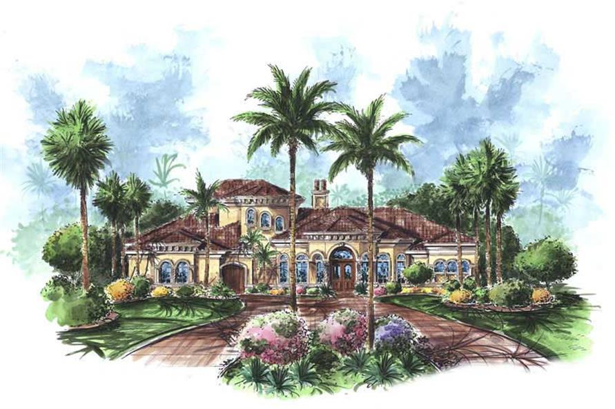 4-Bedroom, 4483 Sq Ft Coastal House Plan - 175-1049 - Front Exterior