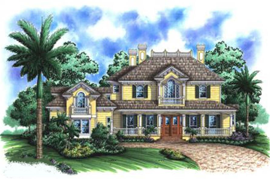 4-Bedroom, 4696 Sq Ft Coastal House Plan - 175-1050 - Front Exterior