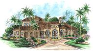 Mediterranean houseplans The Monterro House Plan color rendering.