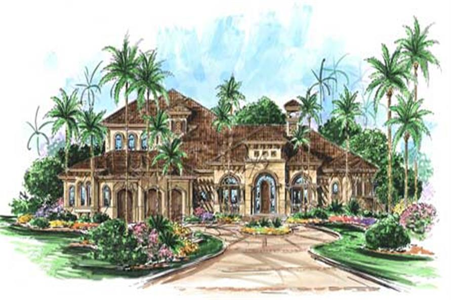 4-Bedroom, 4682 Sq Ft Florida Style Home Plan - 175-1051 - Main Exterior