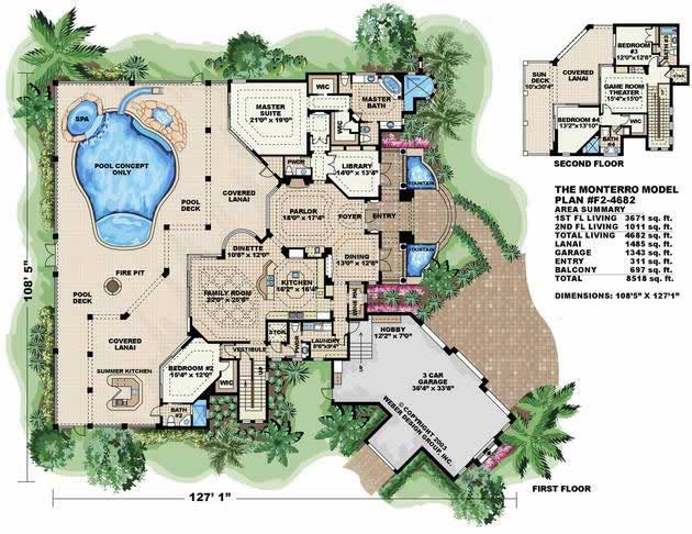 Mediterranean house plans home design wdgf2 4682 13283 for Mediterranean mansion floor plans