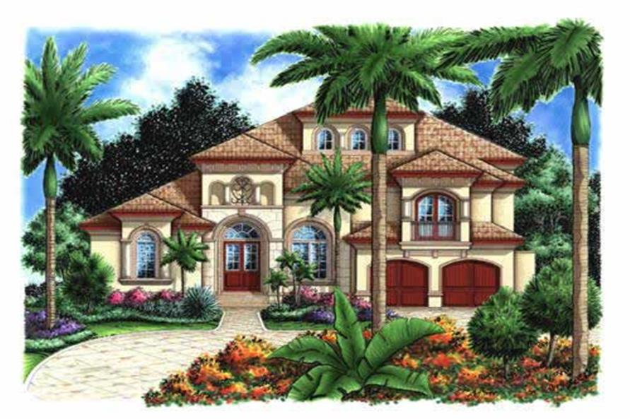 5-Bedroom, 4198 Sq Ft Florida Style Home Plan - 175-1052 - Main Exterior