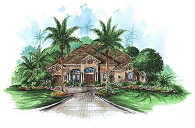 4-Bedroom, 4378 Sq Ft Florida Style Home Plan - 175-1053 - Main Exterior