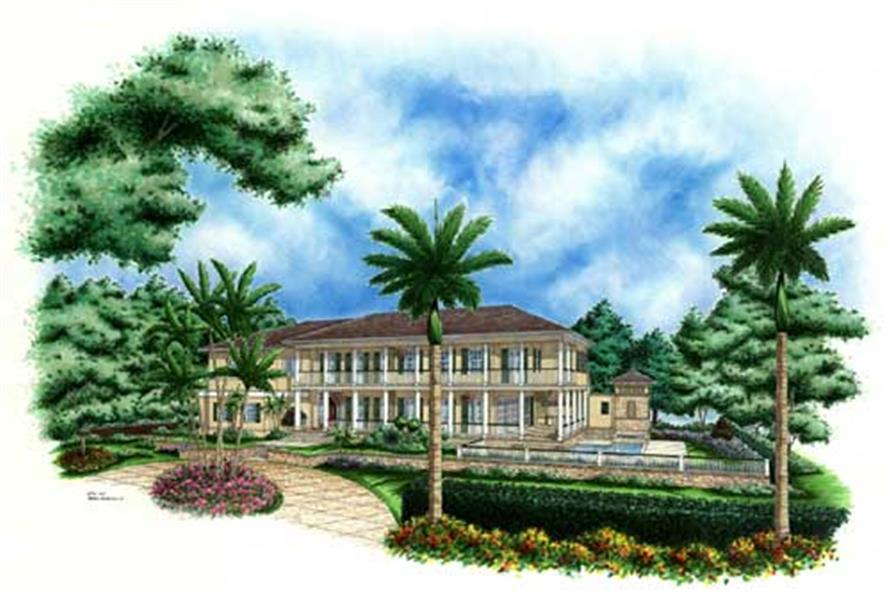 This image shows the Mediterranean style for this unique set of house plans.