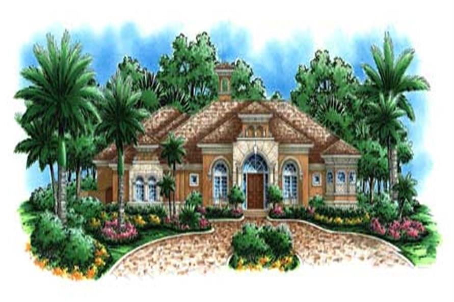 4-Bedroom, 4928 Sq Ft Florida Style House Plan - 175-1055 - Front Exterior