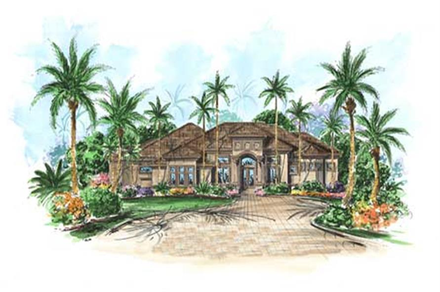 3-Bedroom, 3287 Sq Ft Florida Style House Plan - 175-1056 - Front Exterior