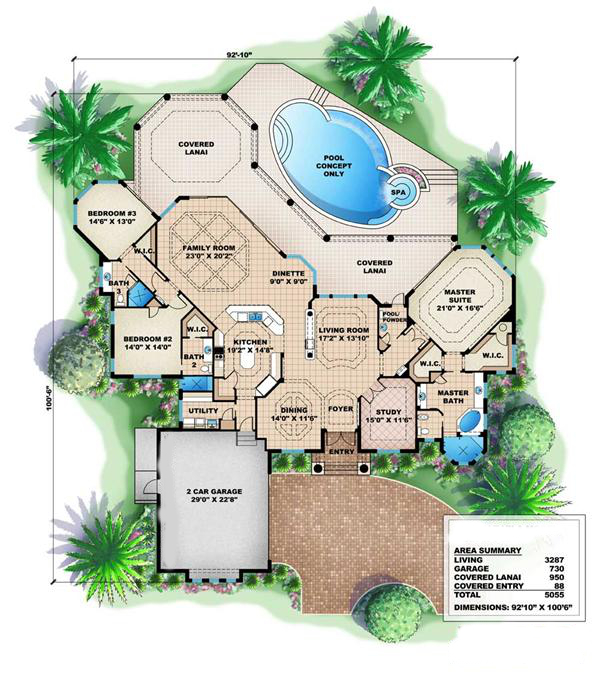 Mediterranean home plans florida house plans home plans for Mediterranean style floor plans