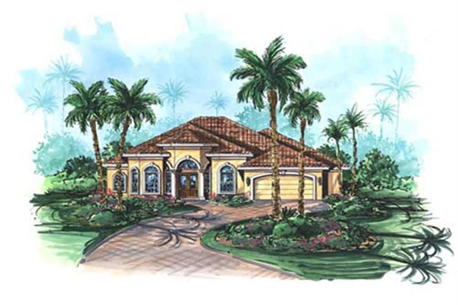 3-Bedroom, 2784 Sq Ft Florida Style House Plan - 175-1057 - Front Exterior