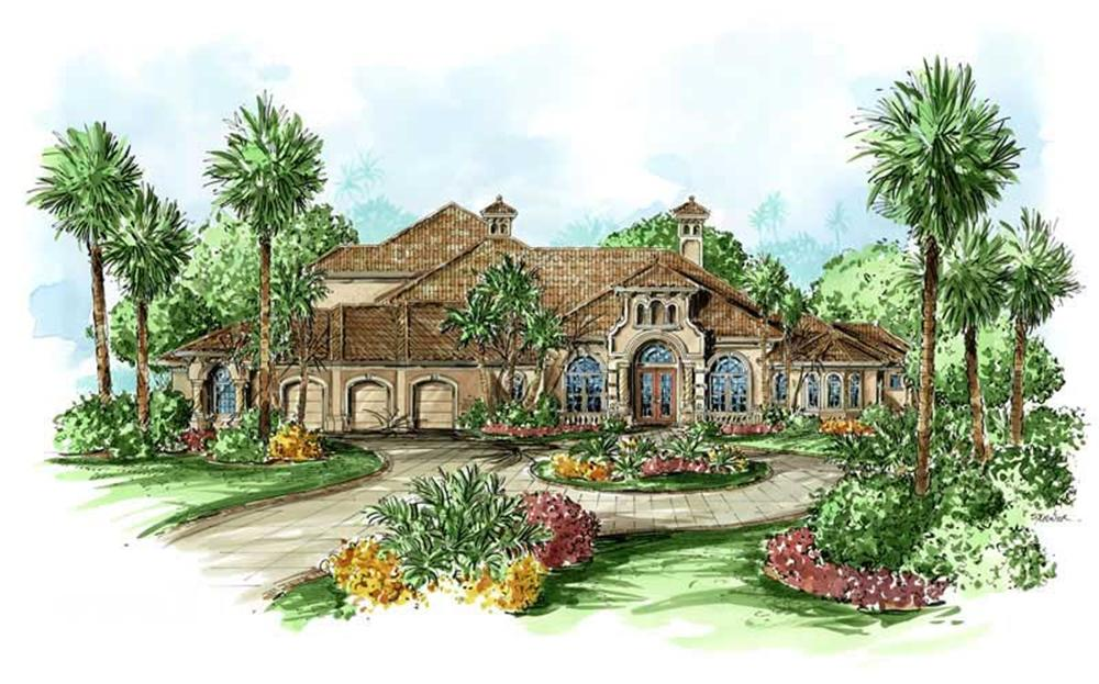 Mediterranean homeplans color rendering.