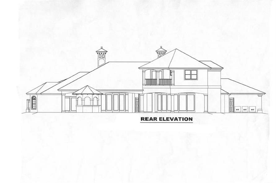 Home Plan Rear Elevation of this 5-Bedroom,4403 Sq Ft Plan -175-1058