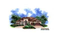 Mediterranean house plans color elevation.