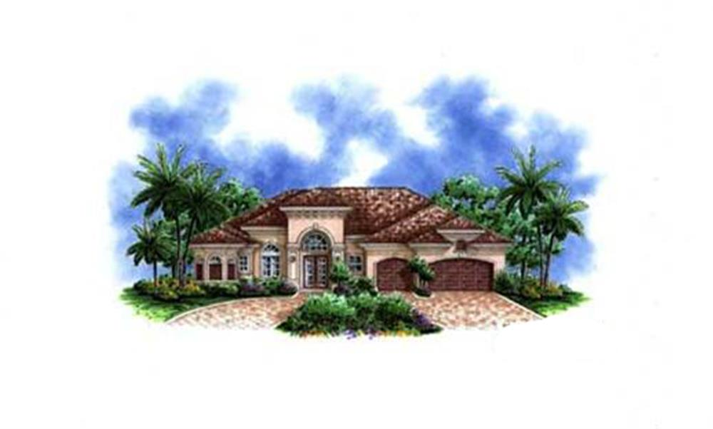 Front elevation of Florida Style home (ThePlanCollection: House Plan #175-1059)
