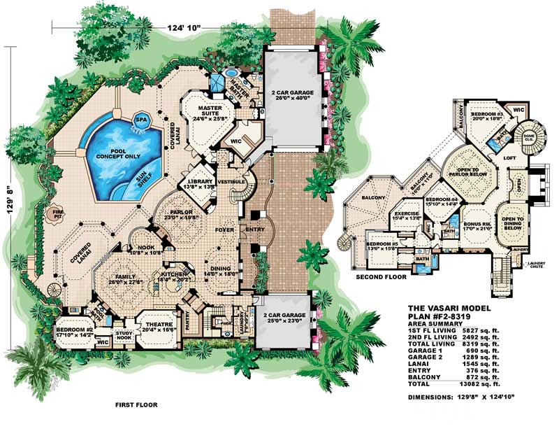 Luxury house plans mediterranean home design vasari 11521 for Huge house floor plans