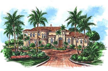 4-Bedroom, 4669 Sq Ft Coastal Home Plan - 175-1061 - Main Exterior