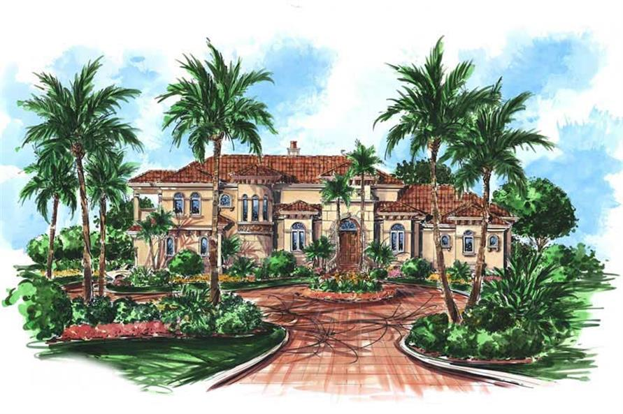 "Mediterranean Plans ""GARDENIA HOUSE PLAN"" color front elevation."