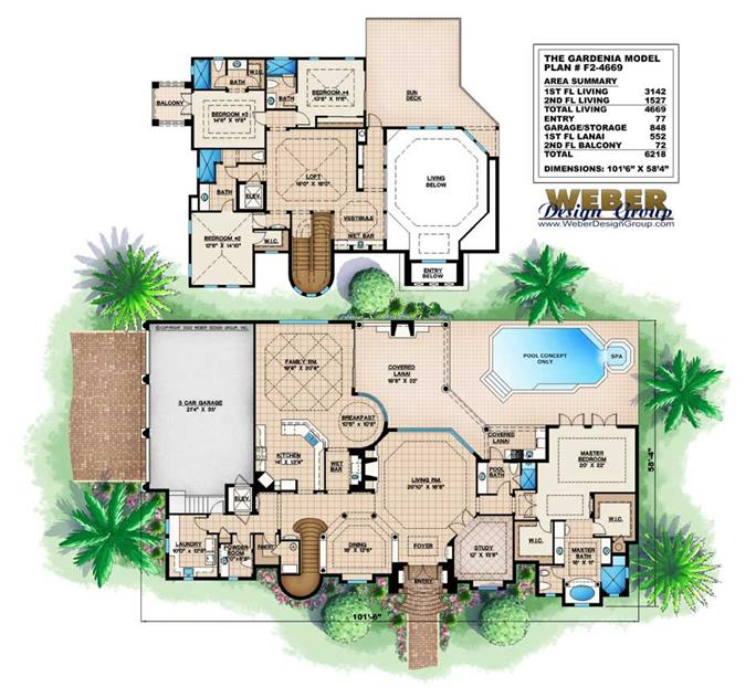 home floor plans color.  Floor Plan First Story Mediterranean Home Plans Design GARDENIA HOUSE PLAN 11532