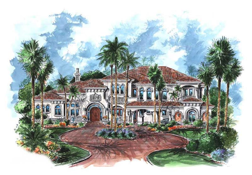 Front elevation of Luxury home (ThePlanCollection: House Plan #175-1065)