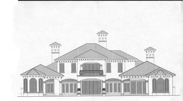 175-1067 house plan rear elevation