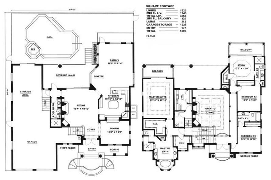 Floor Plan of this 3-Bedroom,3566 Sq Ft Plan -3566