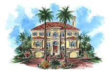 This image shows the front elevation for these Mediterranean Designs, Florida Homes.