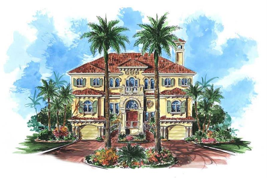 3-Bedroom, 3938 Sq Ft Coastal Home Plan - 175-1070 - Main Exterior