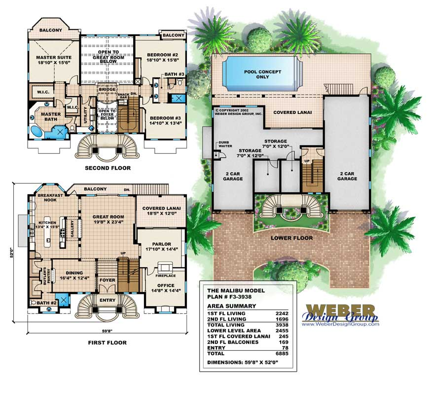 House plan 175 1070 3 bedroom 3938 sq ft coastal for Oceanfront house plans