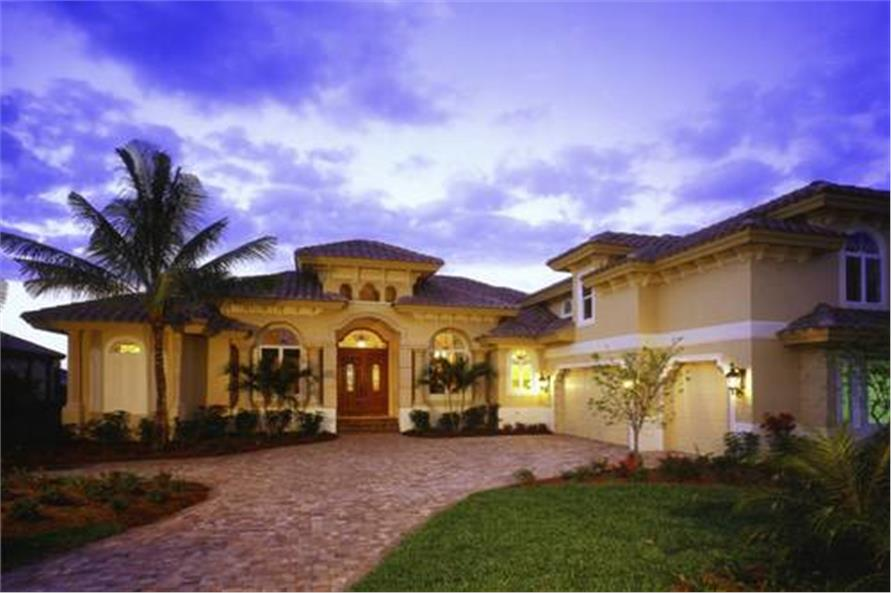 This image shows the Mediterranean style for these home plans.